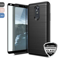 For LG Stylo 4/Plus/Q Stylus Alpha Brushed Armor Rubber Hard Case+Tempered Glass