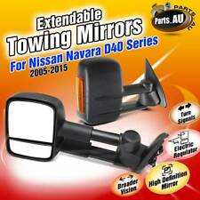 TOP Black Extendable Towing Mirrors w/ Indicator for NISSAN Navara D40 2005-2015