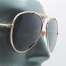 True Glass Lens Classic Aviator Sunglasses Sun Shades Large Gold Frame