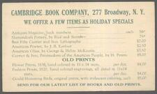 Postcard NEW YORK/NY Cambridge Bookstore Old Prints Price List 1942