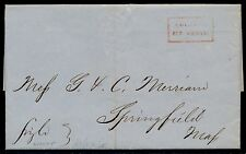 """1845 STAMPLESS F.L. HALE & Co W/ RED BOXED """"COLLECT 6¢"""" TO SPRINGFIELD,MA BQ6638"""
