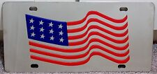 US Flag stainless steel chrome mirror vanity license plate tag stars stripes USA