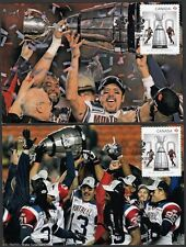CANADA Sc #2568 - 100th Ann GREY CUP STAMP with ANTHONY CALVILLO on 2 MAXICARDS