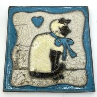 Vintage SIAMESE CAT Art Tile Wall Hanging Decor