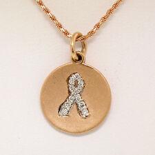"NEW 14K Rose Gold .10ctw Diamond Awareness Ribbon Disc Pendant w/ 16"" Rope Chain"