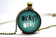 The Fault in Our Stars, by John Green: 'Okay? Okay' Quote Book Pendant Necklace