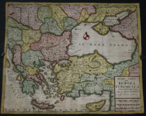 GREECE CYPRUS BALKAN COUNTRIES TURKEY 1740 TIRION ANTIQUE COPPER ENGRAVED MAP