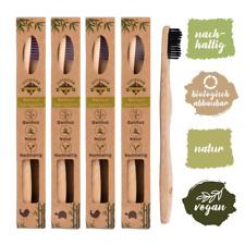 4 brosses à dents bambou biodégradable, poils souples infusés au charbon végétal