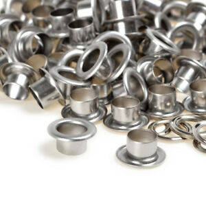 Silver Solid Brass Grommets Eyelets w/washer Inner Size 6/8/10mm x Height 7mm US