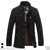 Mens Wool Peacoat Jacket Single Breast Winter Trench Coat Reefer Jacket Overcoat