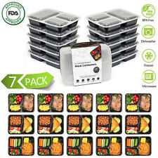7 Meal Prep Containers Food Storage 3 Compartment Plastic Reusable Microwavable