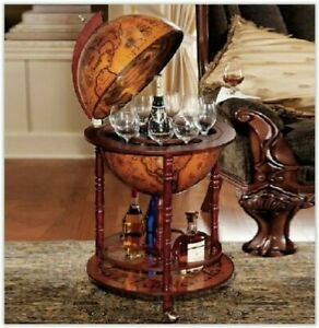 Vintage Style Antique Globe Drinks Mini bar Trolley Cabinet Ideal Gift