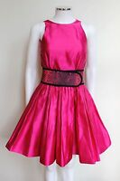 £2895 CHRISTOPHER KANE Designer Snake Skin Belt Pink Pleated Skater Dress uk 8