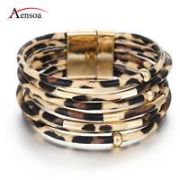 Fashion Women Beads Tube Multi-layer Leather Bangle Charm Wrap Cuff Bracelets