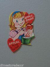 Vtg Valentine Card 60s Pretty Girl Peeling Apple Fruit Sauce Appeal to Me UNUSED