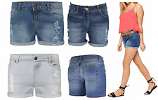 NEW LADIES WOMENS GYM SUMMER POCKET HOT PANTS DENIM RIPPED  SHORTS 8-16