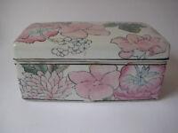 antique Chinese porcelain TRINKET BOX lid lotus pillow famille rose Asian vtg
