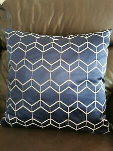 Dark blue silky pattern 45cm x 45cm cushion with feather inner