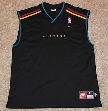 NIKE Detroit Pistons Basketball Jersey Men's Large L Black Shirt vtg 90's NBA