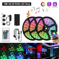 600 LED Strip Light 3528 RGB+Bluetooth APP Remote Control+12V Power Kit 5/10/15M