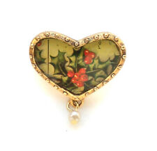 John Wind Pin Christmas Gold Mother Holly Holiday Jewelry Brooch Maximal Art