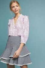 New Anthropologie ML Monique Lhuillier Tiered Mini Skirt  $295 Size 2 Navy
