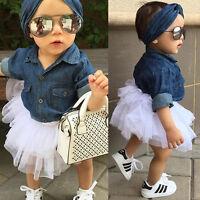 Kids Baby Girl Denim Long Sleeve Tops Shirt+Tutu Skirts Dress 3pcs Outfits Set