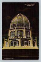 Wilmette IL, Baha'i Temple, Linen Illinois, Postcard