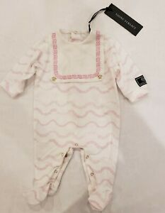 NWT NEW Young Versace Baby Girls white print footie romper 1m
