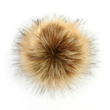 5inch DIY Large Faux Raccoon Fur Pom Pom Ball with Press Button for Knitting Hat