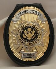 Oval and Star CCW Badge for the Armed Citizen California on leather belt clip