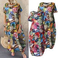 ZANZEA Femme Oversize Impression Manche Courte Long Maxi Dresse Ample Loose Robe