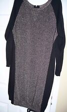 Preowned Lane Bryant 14 16 Design Metallic Black Silk Special Occasion Dress ele