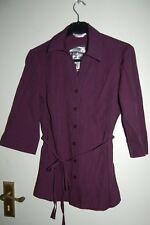 BHS Petites Blouse Size 8 Blackberry Tie Belt 3/4 Sleeve BNWT