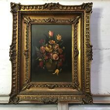 Old Vintage Italian Still Life Floral Oil Painting Panel  Fine Gilt Framed Fine