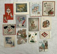 Vintage Christmas Cards Lot Of 13 Deer Dog Ornaments Junk Journal Used