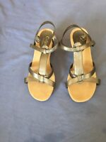 Cotton Traders Women Bronze Wedge Shoes Size 5 (74C).