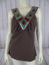 Bisou Bisou Knit Top XL Brown Cotton Spandex Stretch Pullover Half Bra Sequins