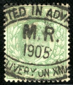 GB KEVII Stamp ½d Used 1905 POSTED IN ADVANCE CHRISTMAS OVAL Manchester BLRED119