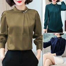 Womens Vintage Puff Sleeve Victorian Shirt Ruffle Neck Top OL Blouse Plus Size