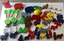 Small Wood Animals Toy Farm Noah's Ark Large Lot