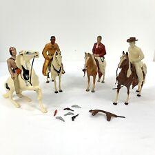 Lot of Vintage Hartland / Breyer / Other Western Toys 4 Horses 4 Men 3 saddles