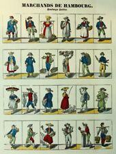 """""""Marchands de Hambourg"""", Hamburger Händler in Miniaturen, 18.Jh., Holzschnitt"""