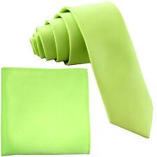 "New Polyester Men's 2.5"" Neck Tie & hankie formal wedding prom lime green"