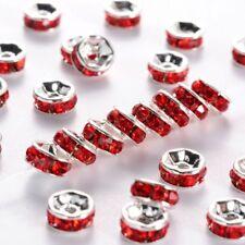 10 x 6mm Rhinestone Brass Red Spacer Beads Light Siam