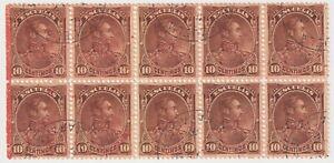 1893 Venezuela - Simon Bolivar, Overprinted - Block 10 x 10 C Stamps