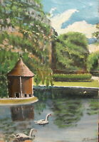 Antique impressionist oil painting lake landscape signed