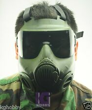 M50 style Airsoft Tactical Protetction Full face Gas mask GREEN 2 sets lens FAN