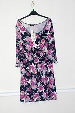 Ladies Pretty Dress  Sleeves Size 12 Navy  with Multi Colours