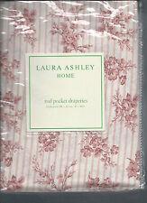 Laura Ashley Garner Pink White Stripe Floral Rod Pocket Drapes Drapery New